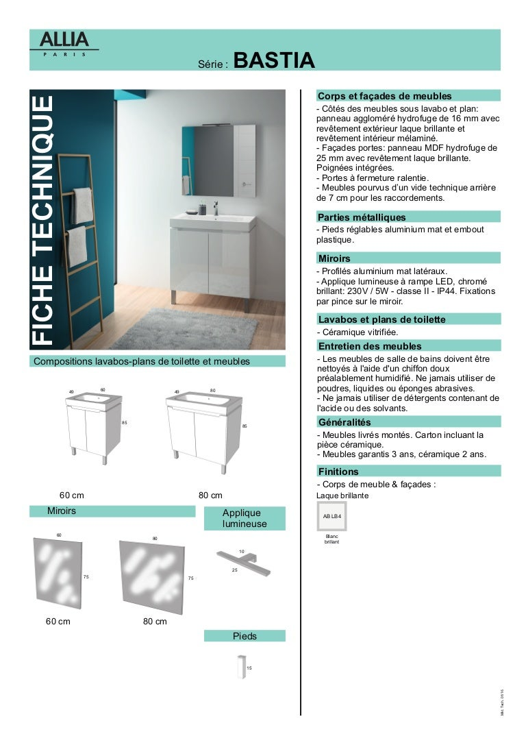 Plan De Toilette Hydrofuge fiche technique meuble salle de bains bastia par allia