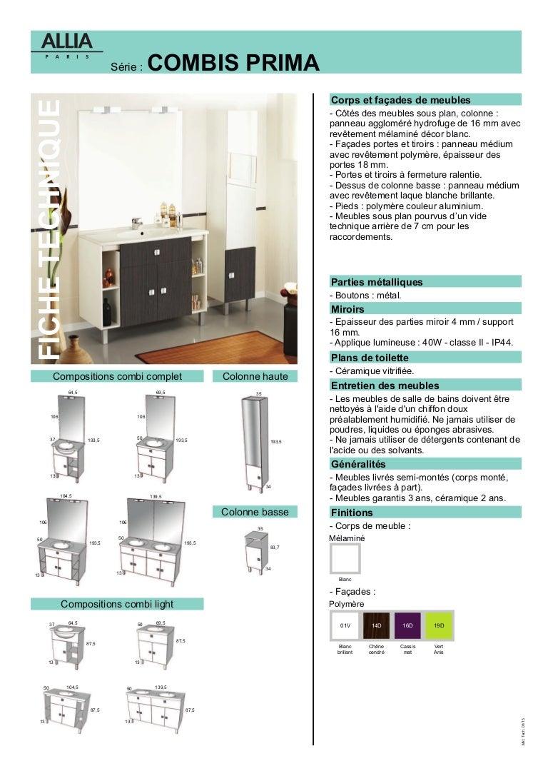 fiche technique meubles combi prima par allia salle de bains. Black Bedroom Furniture Sets. Home Design Ideas
