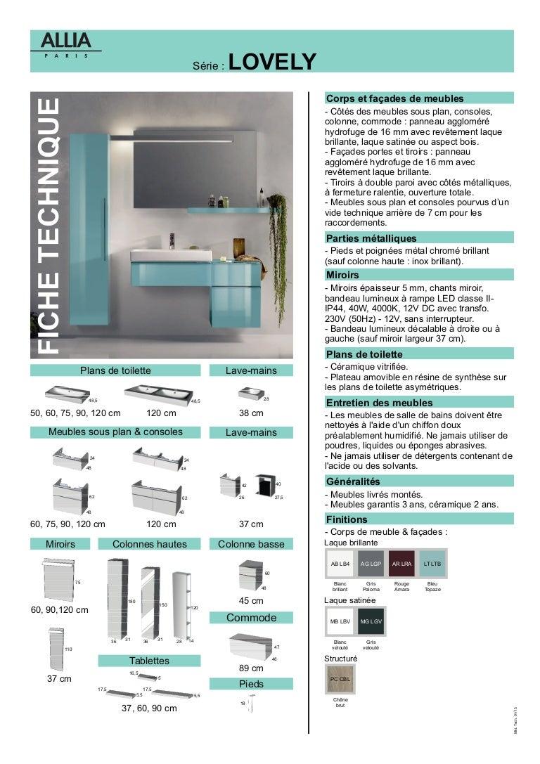 Plan De Toilette Hydrofuge fiche technique meubles lovely par allia salle de bains
