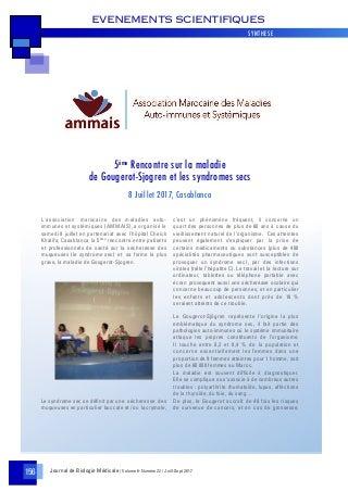 Sécheresse des muqueuses et Gougerot-Sjögren- 5ème rencontre au Maroc - AMMAIS Info