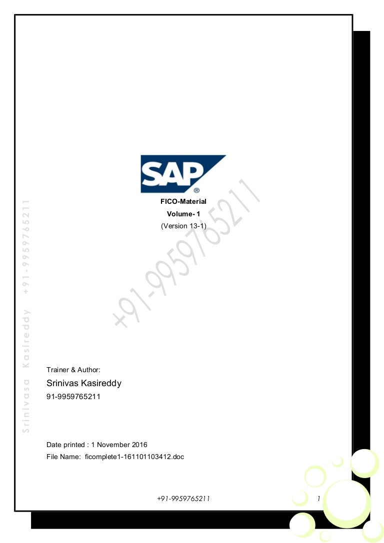 SAP FI Configuration guide and enduser manual