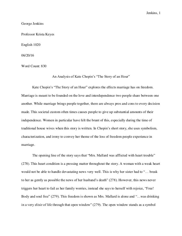 analysis of the story the story of an hour by kate chopin