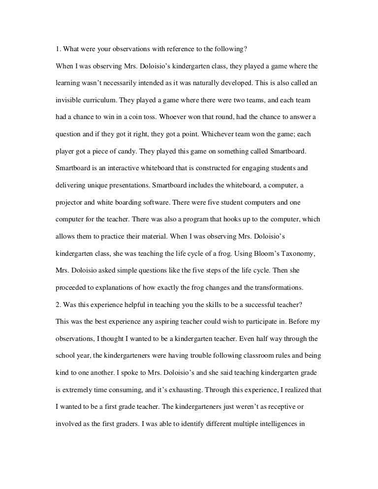 observation essay sample