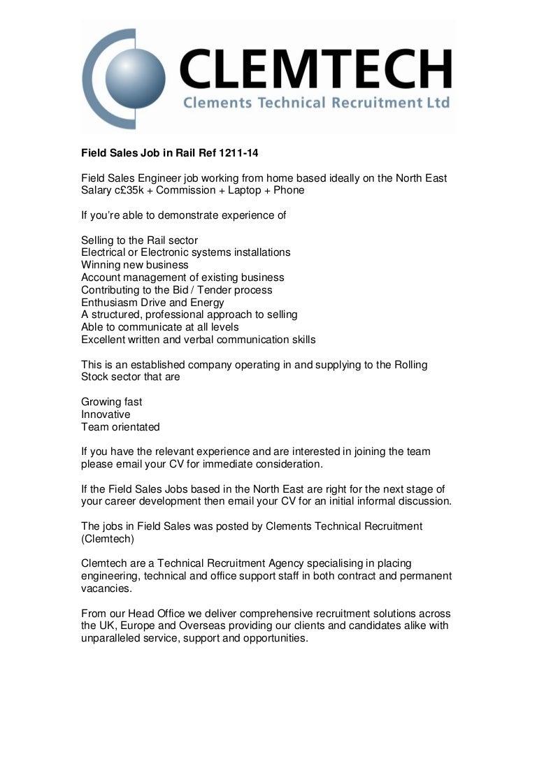 Field sales job in rail ref 1211 14