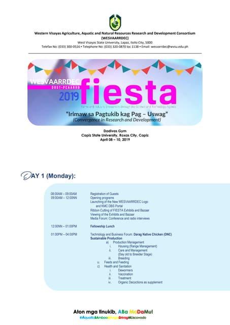 WESVAARDEC & DOST-PCAARRD Fiesta 2019 (Tentative) Program