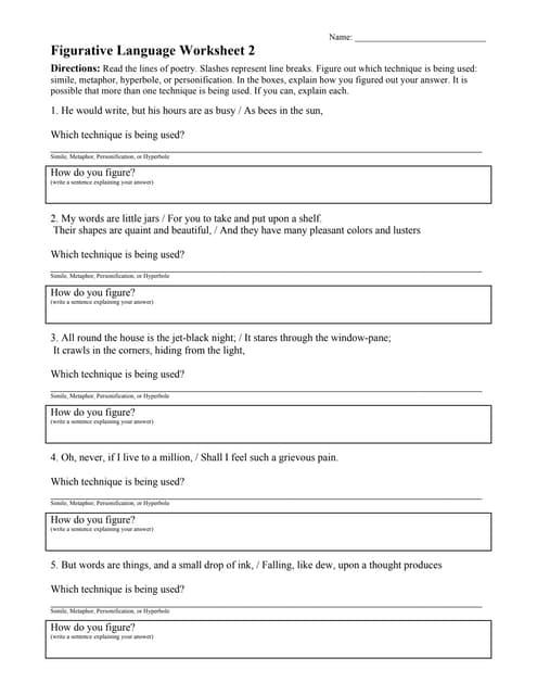 Figurative Language Worksheet 02