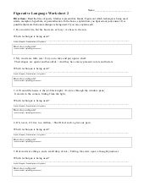 Figurative Language Worksheets   Hyperbole Worksheets