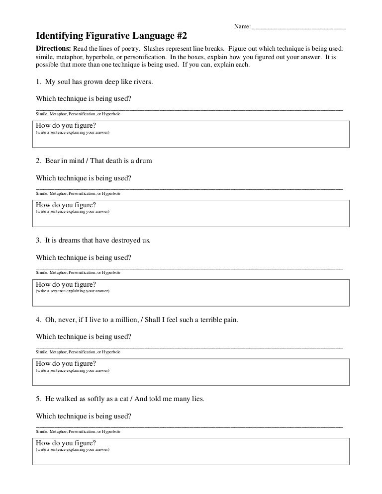 Figurative language worksheet 2 – Free Figurative Language Worksheets