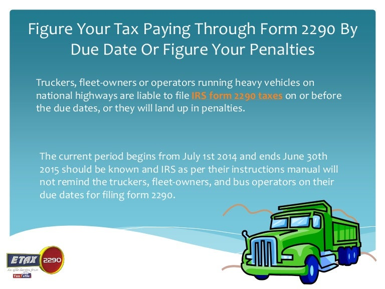 Form 2290 instructions 2015