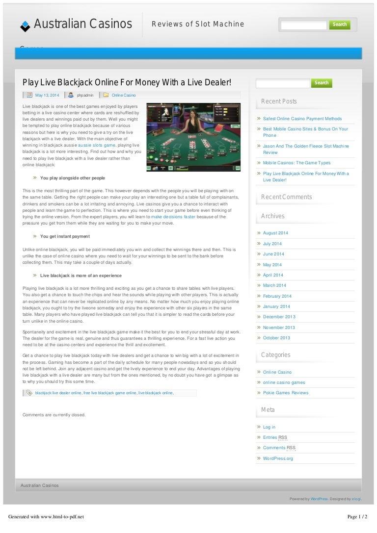 Play Live Blackjack Online For Money With A Live Dealer Australian