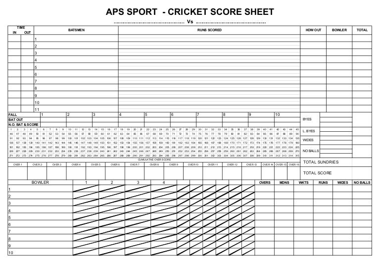 Cricket Score Sheet Blowfly Cricket Score Sheet Date Field Cricket