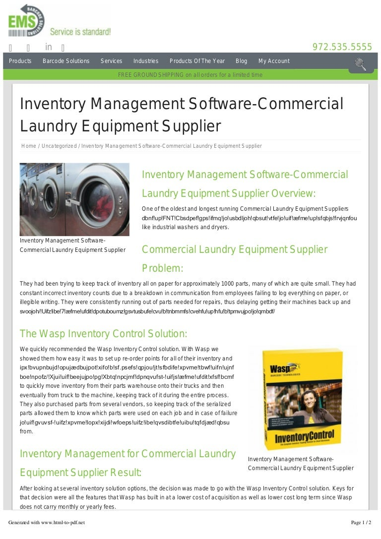 Inventory Management Software-Laundry Supplier