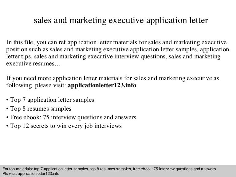 sales and marketing executive application letter