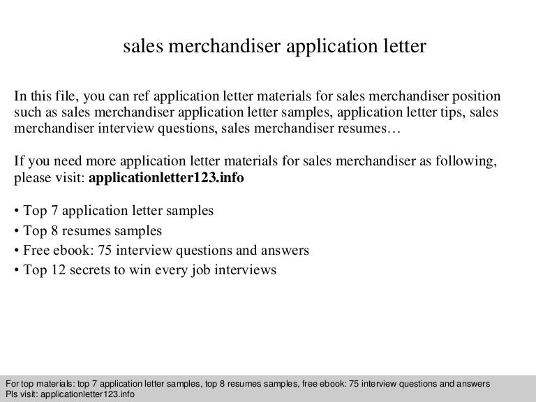 Sales Merchandiser Application Letter