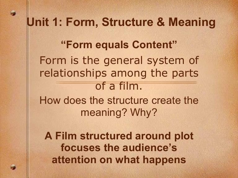 Film Studies Unit 1 Structure/Story/Form