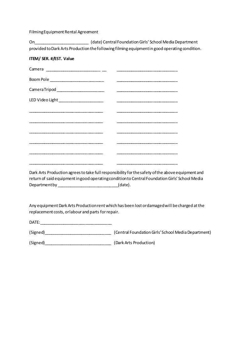 Film Equipment Rental Agreement