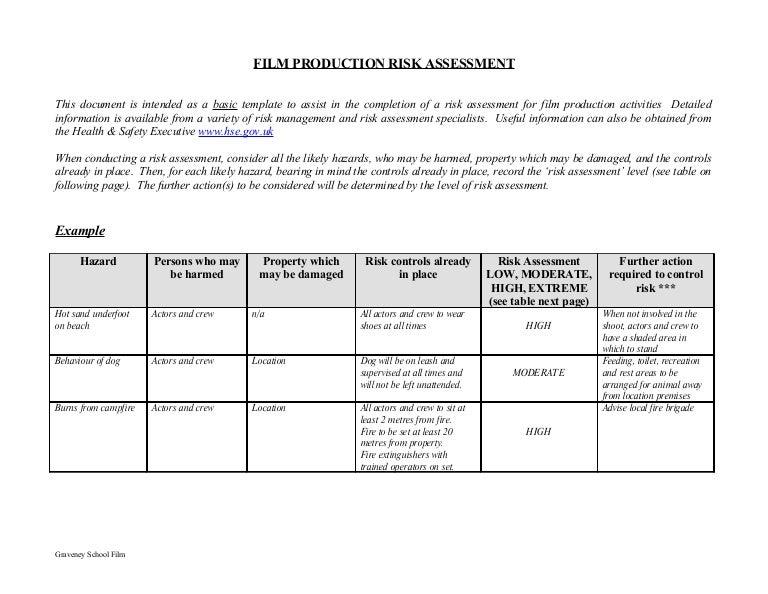 Film production risk assessment form – Sample Risk Assessment
