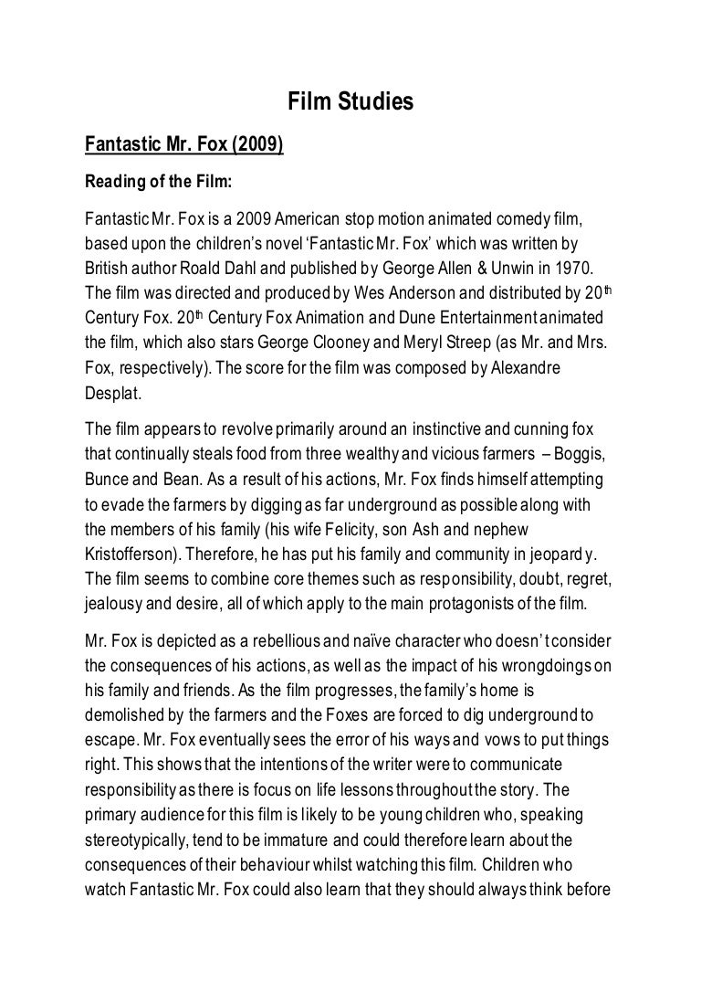 Film Studies Fantastic Mr Fox