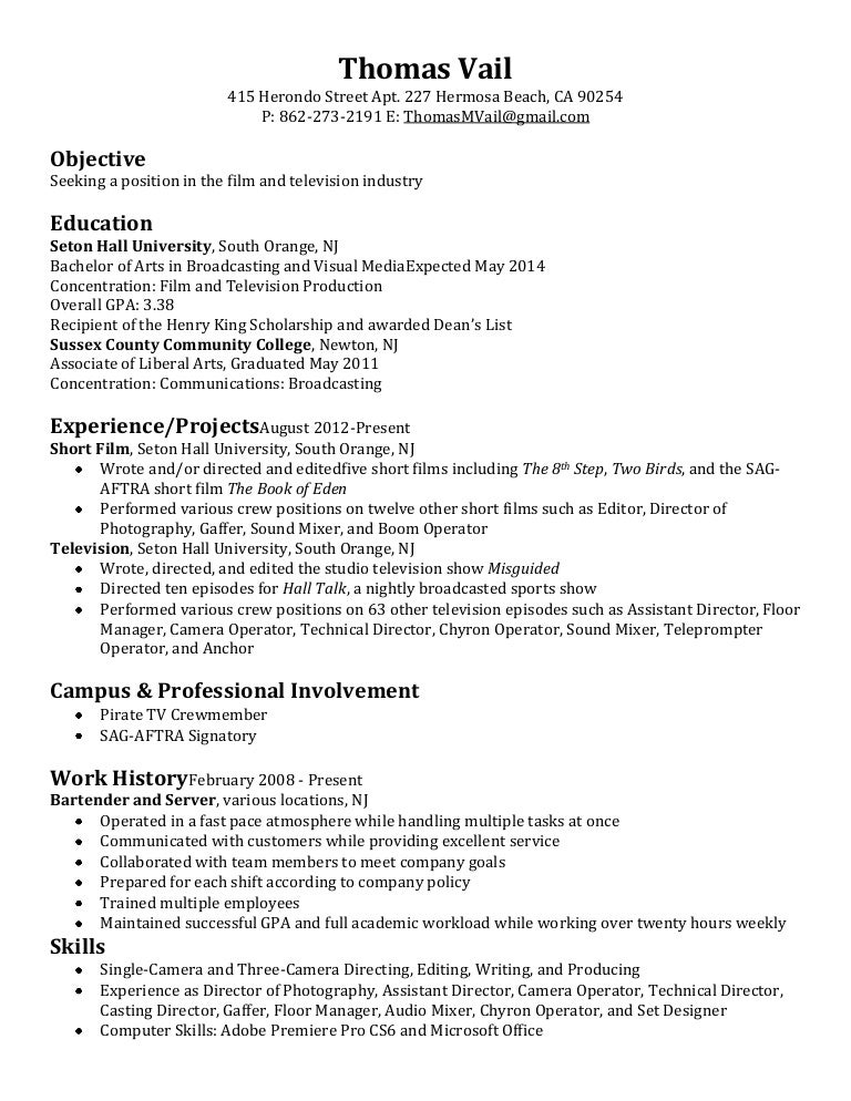 Film Crew Resume. Engineering Cover Letter Example Film Resume