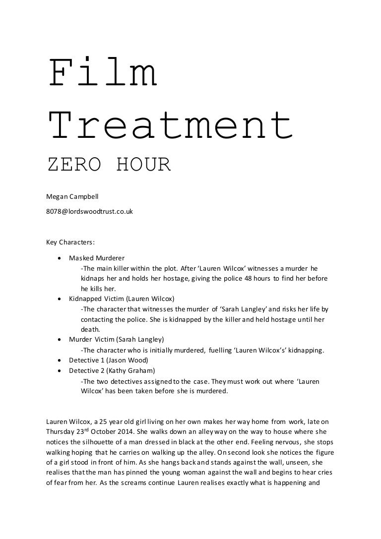 Film treatment for Video treatment template