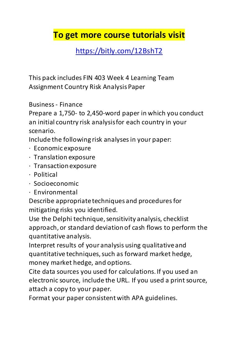 fin 403 week 4 learning team assignment country risk analysis paper