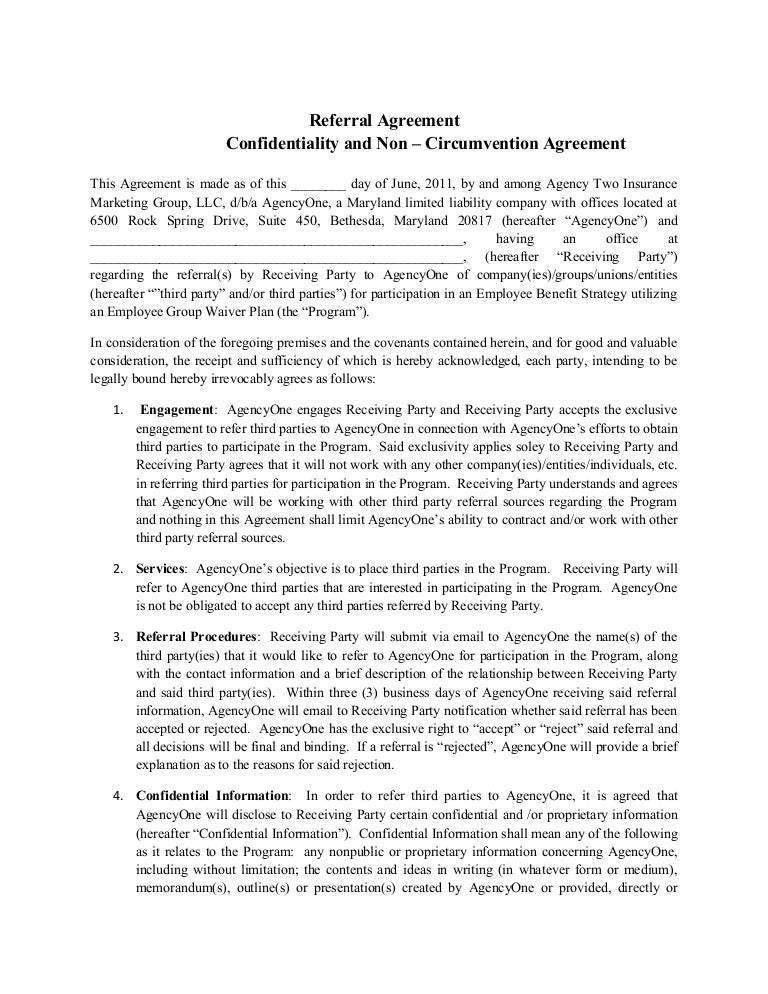 Final Agency One E Referral Agreement (2)