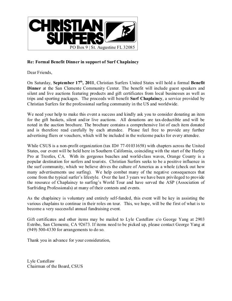 Surf Chaplaincy Benefit Donation Request Letter