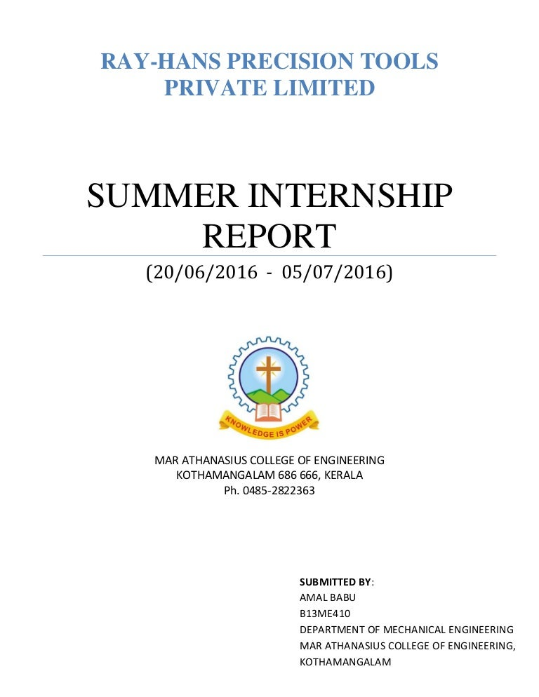 SUMMER INTERNSHIP REPORT 2016 (MECHANICAL ENGINEERING)