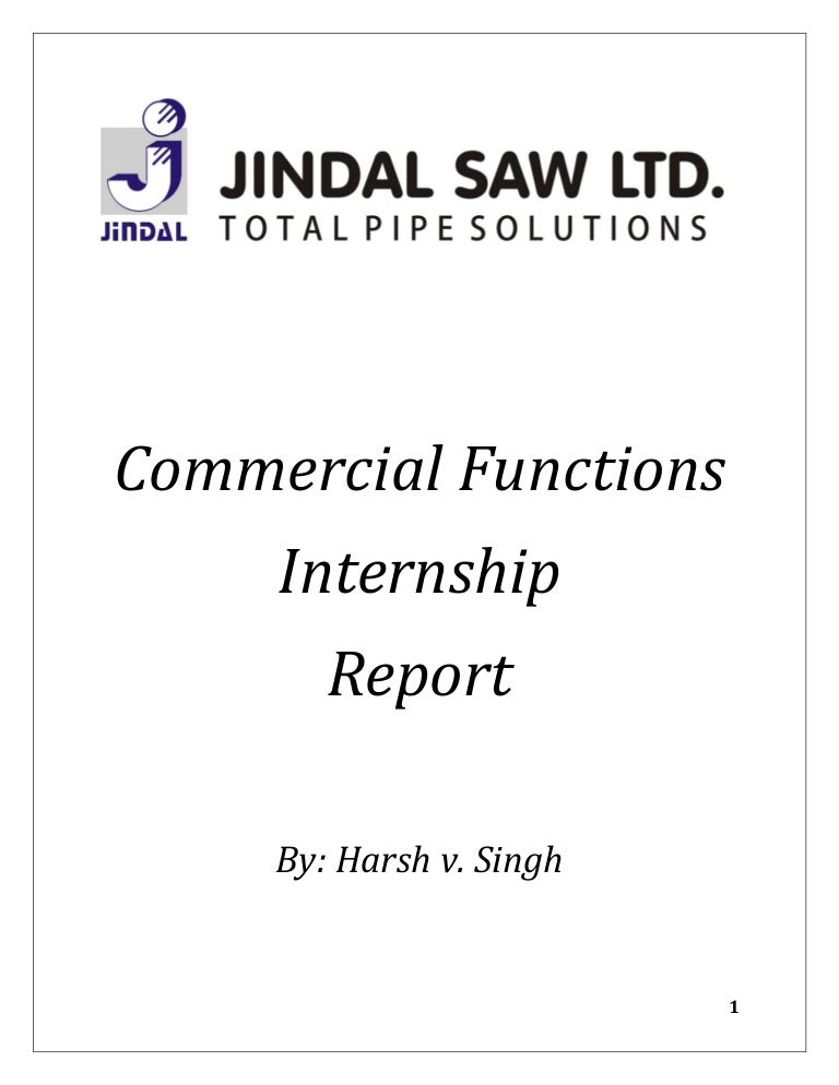 Jindal Saw Limted - Commercial Functions Internship Report