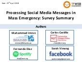 Processing Social Media Messages in Mass Emergency: A Survey