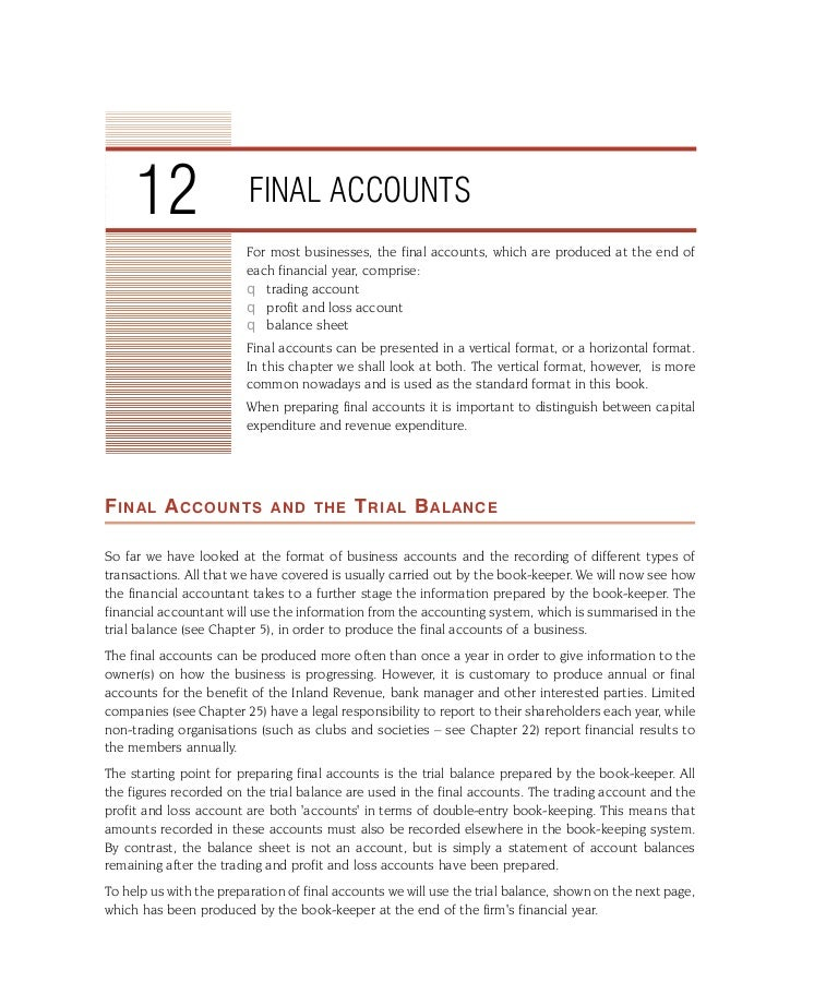 Final accounts – Standard P and L Format