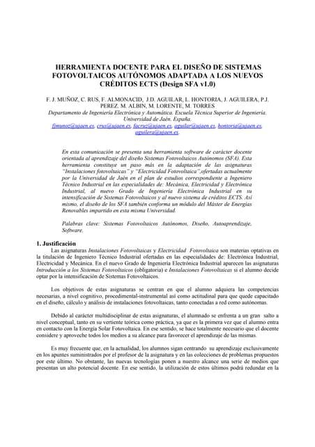 TAEE 2010: Herramienta docente para el diseño de sistemas fotovoltaicos autónomos adaptada a los nuevos créditos ects