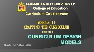 Curriculum Design Models