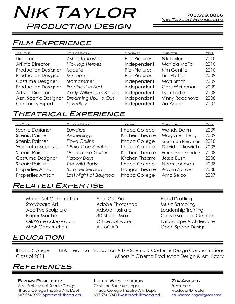film theatre resume