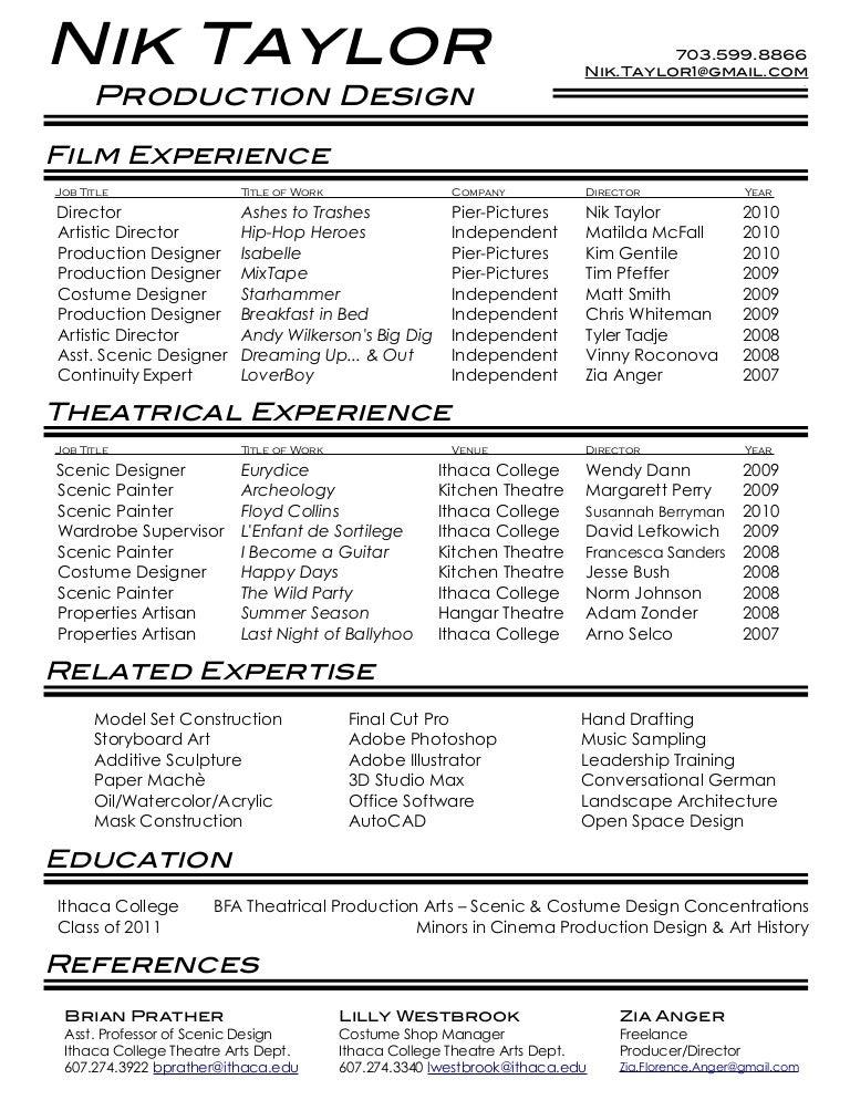 Film Theatre Resume