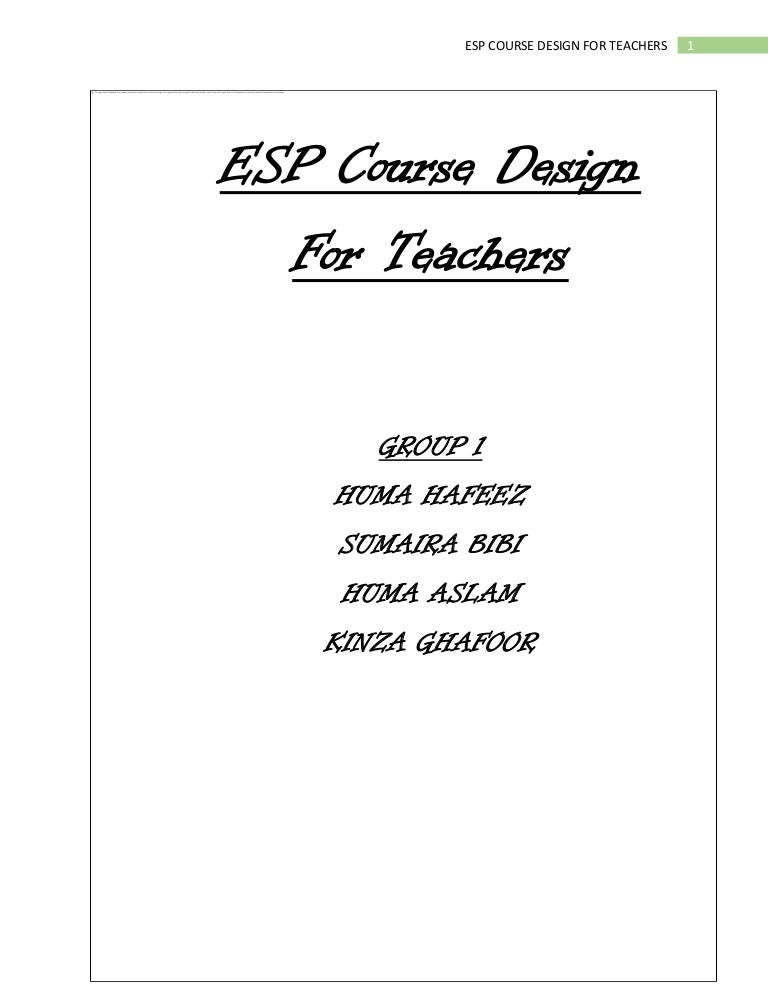 ESP COURSE DESIGN FOR GOVERNMENT TEACHERS