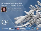 IR Website Best Practices Session 2 - January 14, 2010