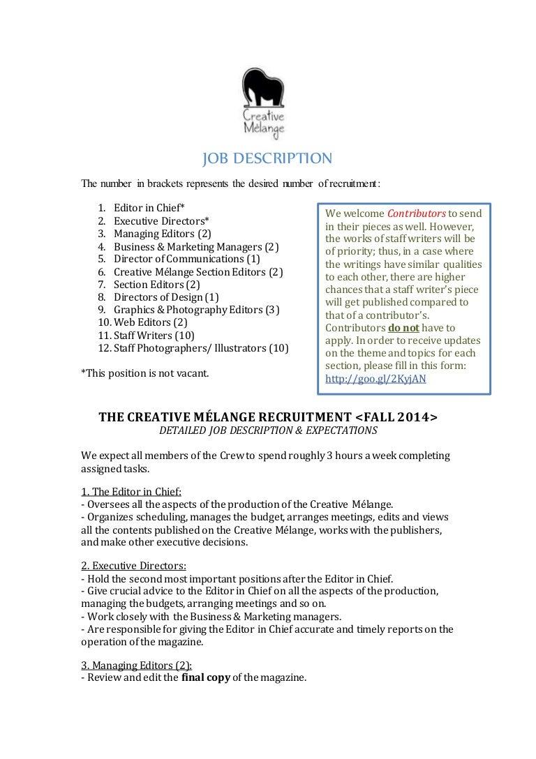Creative M lange Job Description Fall 2014 – Editor Job Description
