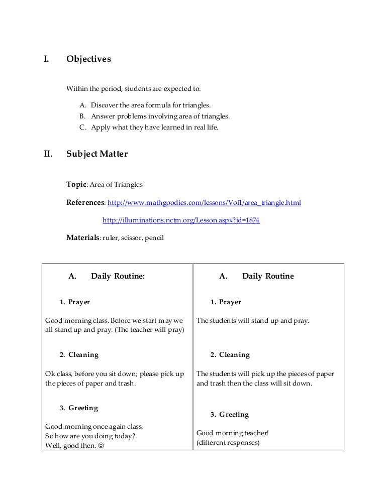 Final Lesson Plan In Math (4A'S Approach)