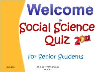 Social Science Quiz 2011