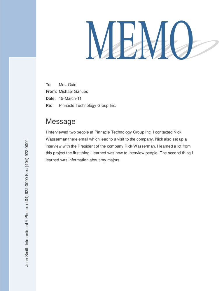 Sample Company Memo. A Sample Business Letter 9 2 Memorandums And