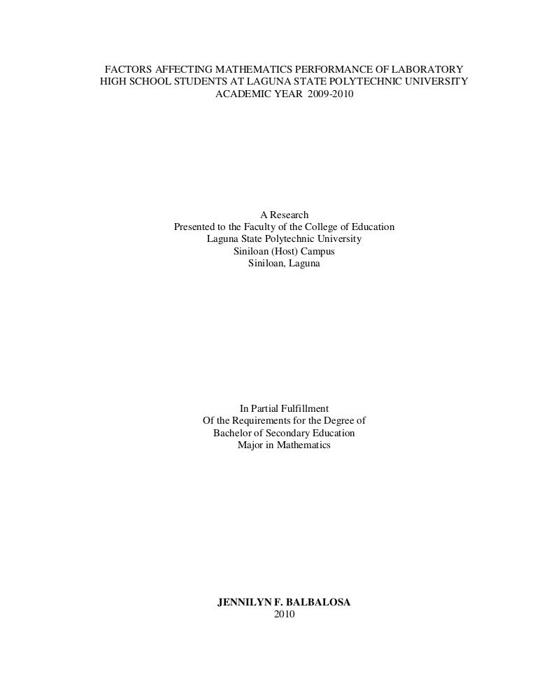 Thesis Title In Mathematics Education In The Philippines Pdf