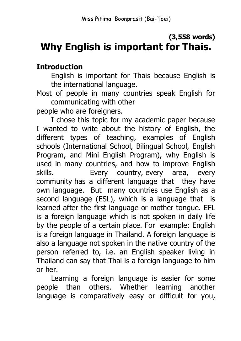 Essay about english language
