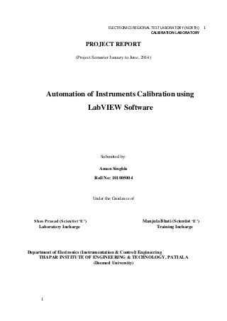 Calibration Of Instruments Using LabVIEW