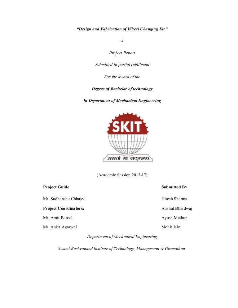 Final Year Project Report Sample For Engineers Iit And State Univer