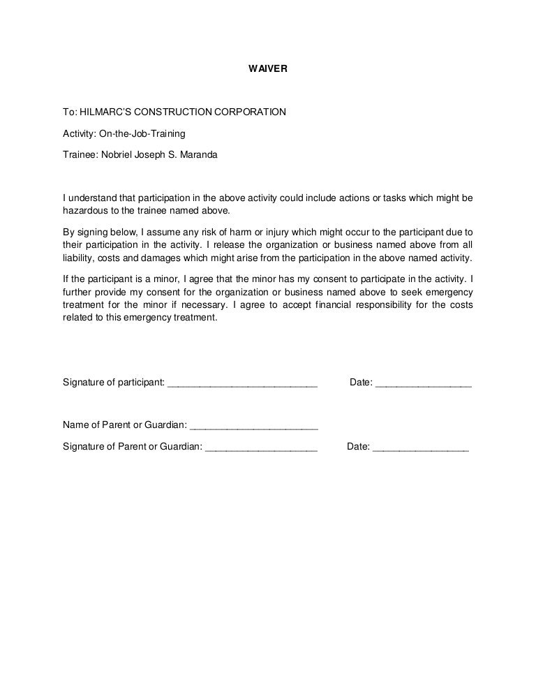 Sample waiver letter job training cover letter final waiver yelopaper Gallery