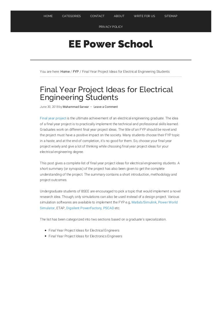 Final Year Project Ideas For Electrical Engineering Eepowerschoolc Jpg And Electronic Topics
