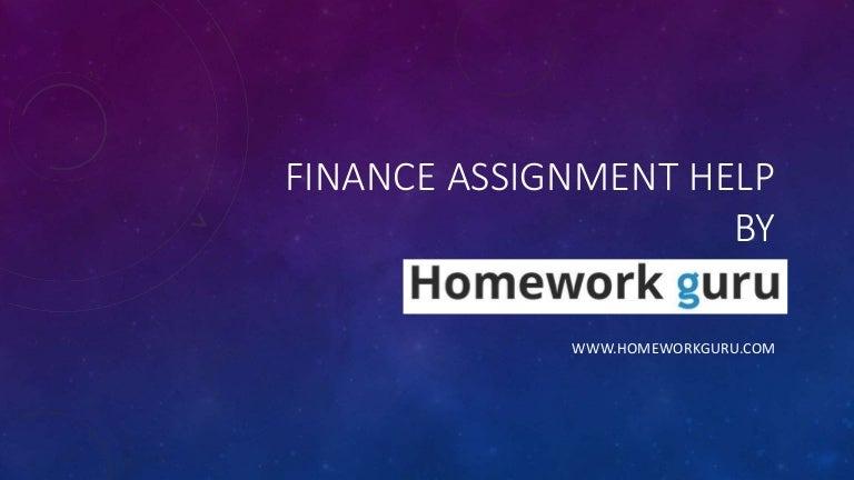 Finance assignment helper