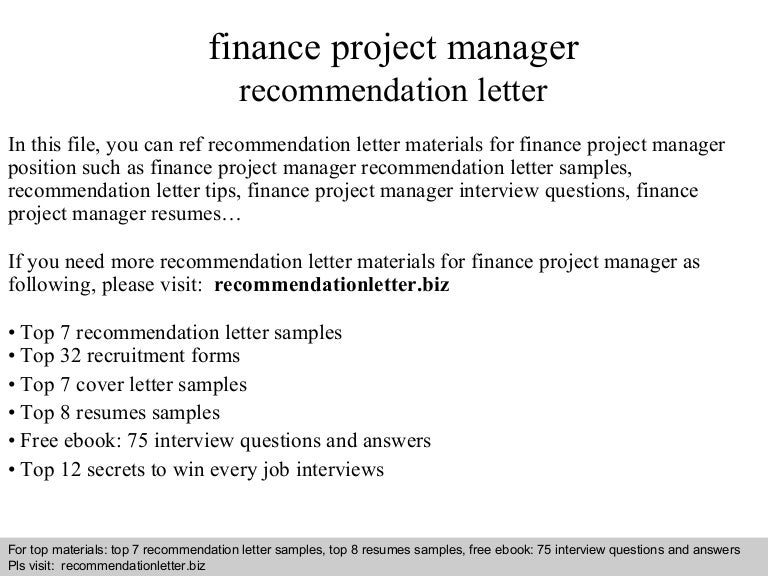 Finance Project Manager Recommendation Letter