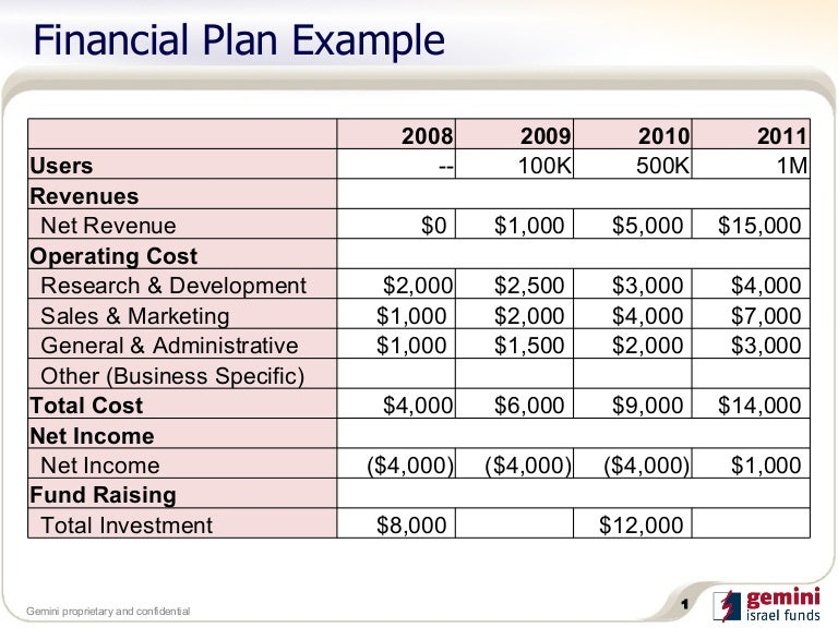 Sample Financial Plan  CityEsporaCo